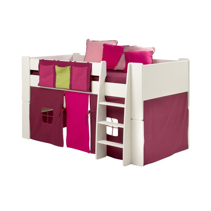 Steens For Kids Mid Sleeper 3 Pocket Rail Tidy in Pink - The Steens For Kids purple, pink and green 3 pocket rail tidy in purple, pink and green offers bedside storage for mid sleeper children's beds. Designed to give your child a little extra bedroom storage for smaller bedside items.