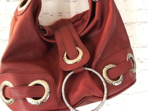 Big Buddha Hobo Purse Handbag Berry Red Chunky Silver Rings Shoulder Strap