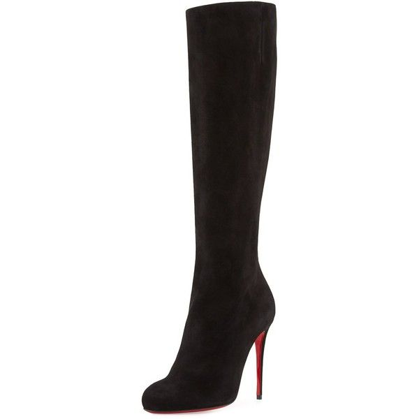 Christian Louboutin Fifi Botta Suede Red Sole Knee Boot ($1,295) ❤ liked on Polyvore featuring shoes, boots, black, shoes boots, suede knee-high boots, side zip boots, stretch knee boots, black side zip boots and black boots