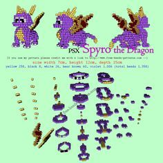 Spyro The Dragon PlayStation free 3D hama beads perler pattern