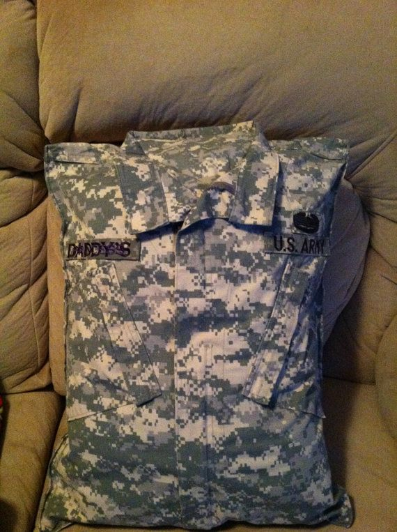 What an awesome gift to give a loved one or spouse before a deployment. (Military uniform pillow. by DurhamCustoms on Etsy )