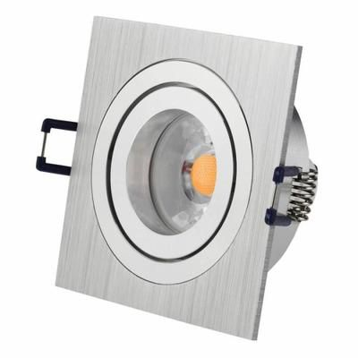 Kit Spot encastrable led carré GU10 230V Orientable Aluminium brossé led blanc froid