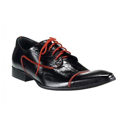 Pánske kožené spoločenské topánky čierne 538 - manozo.hu