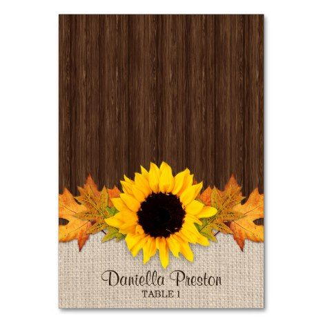 Folded Rustic Fall Sunflower Wedding Place Cards