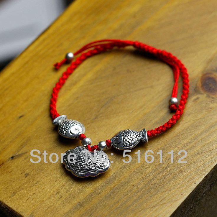 Ручной Красная Строка серебряные браслеты Перегружается Любителей Трикотажные Браслет Тед Ручной веревка рыба серебряные браслеты FX-SL-3022