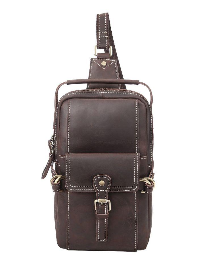 Genda 2Archer Leather Chest Satchel Shoulder Sling Bag Handbag for Men (Brown)