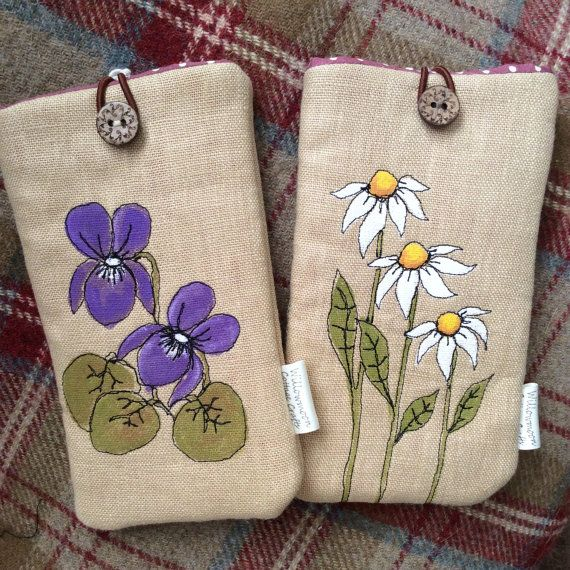 Hand Painted Glasses / Phone sleeve by WillowmoonDesignsGB on Etsy