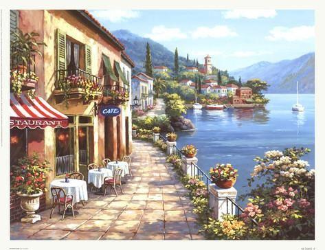 Cafetería con vistas I Pósters por Sung Kim en AllPosters.es