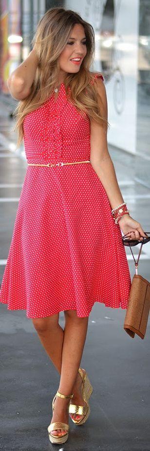 Fever Design Red Polka Dot Fit And Flare Midi Dress by Mi Aventura Con La Moda......love    L O V E the gold! :)