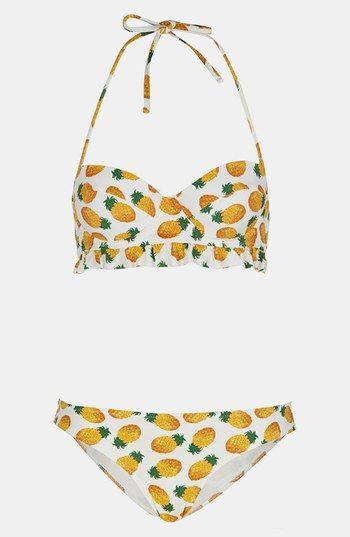 Topshop Pineapple Print Bikini White