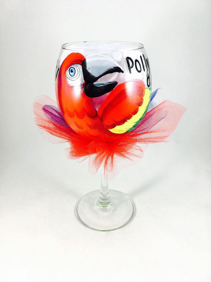 how to draw a parrot on a wine glass