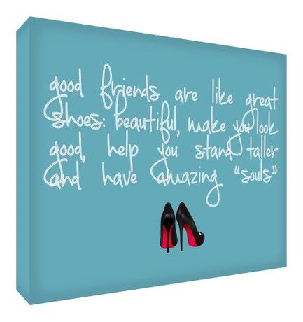 Feel Good Art Gallery Wrapped Box Canvas with Solid Front Panel (20 x 30 x 4 cm, Soft Teal, Friends are like Shoes)
