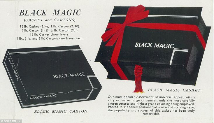 A 1933 advert for Black Magic chocolate boxes - designed as a more affordable, everyday item - became a hit for a while before production was stopped