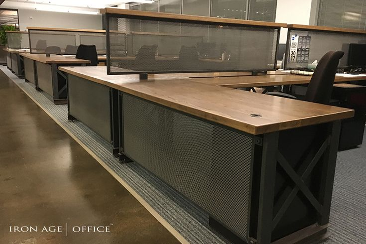 The DogBone Carruca Workstation!    | industrial office furniture |  | modern industrial commercial furniture |  | rustic office furniture |  http://www.ironageoffice.com/