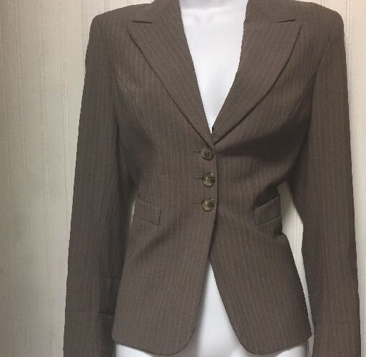 THE LIMITED WOMENS PERFECT TRAVEL  BROWN PINSTRIPE BUSINESS PANT SUIT SIZE 4  | eBay