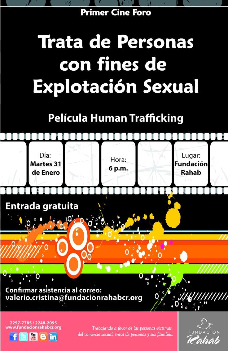 Afiche promocionando el primer cine foro sobre Trata de Personas con fines de Explotación Sexual en Fundación Rahab.