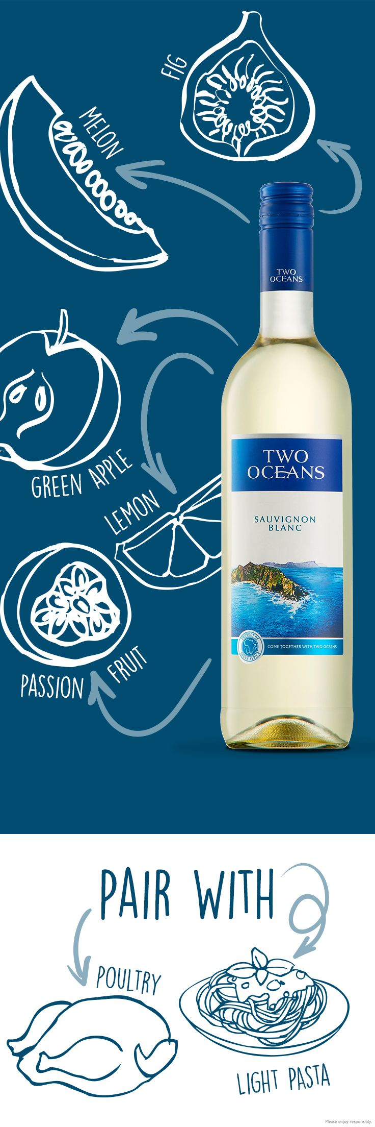 What pairs with Sauv Blanc? With notes of fig, melon, green apple, lemon, and passion fruit, Two Oceans Sauvignon Blanc is a wine that pairs with your favourite dishes.