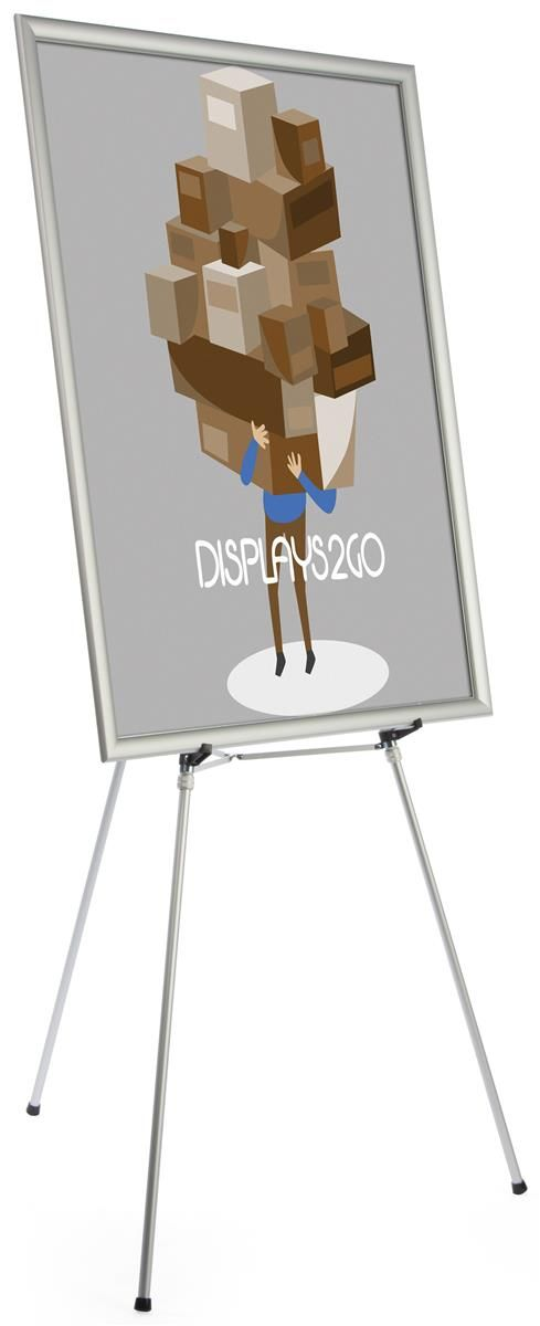 "36"" x 48"" Poster Frame w/ Floor Easel, Adjustable Height - Silver"