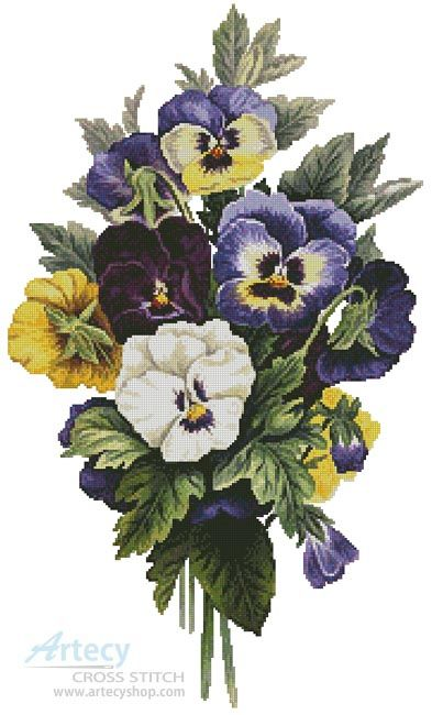 Artecy Cross Stitch. The Pansy Bouquet Cross Stitch Pattern to print online.