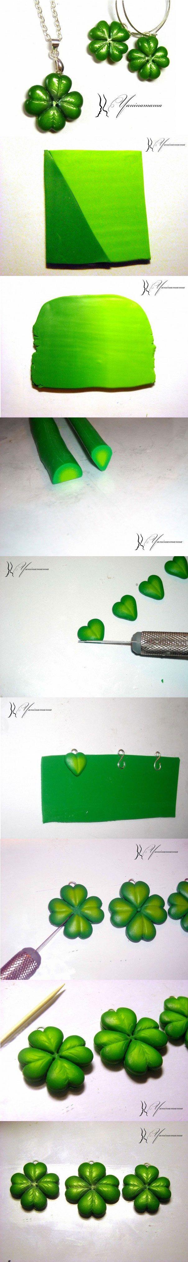 Créer des trèfles à quatre feuilles - Fimo, Cernit et accessoires : http://www.creactivites.com/236-pate-polymere