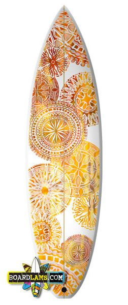 "Surfboard art by Studio Ki Sun. ""Sunburst"" available as graphic application from BoardLams.com"