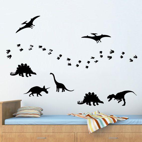 Pack of 7 large vinyl dinosaurs & footprints  by DreamCraftzOnline