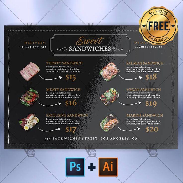 Cafe Menu A5 - Free Menu PSD/AI Template.  #aiflyer #burgers #burgersmenu #cafeflyer #cafemenu #cafepromotion #illustratorflyertemplate #psdflyer #sandwiches #sandwichesmenu  DOWNLOAD PSD TEMPLATE HERE: https://www.psdmarket.net/shop/cafe-menu-a5-free-menu-psdai-template/  MORE FREE AND PREMIUM PSD TEMPLATES: https://www.psdmarket.net/shop/