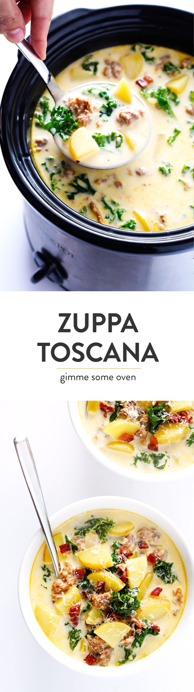 Learn how to make this favorite Olive Garden soup on the stovetop or in the slow cooker! This Zuppa Toscana recipe is super easy to make, naturally gluten-free, and full of the most delicious zesty, creamy flavors. So grab some Italian sausage, kale, potatoes, bacon, Parmesan, and garlic, and make it happen!  Crock-pot instructions also included.