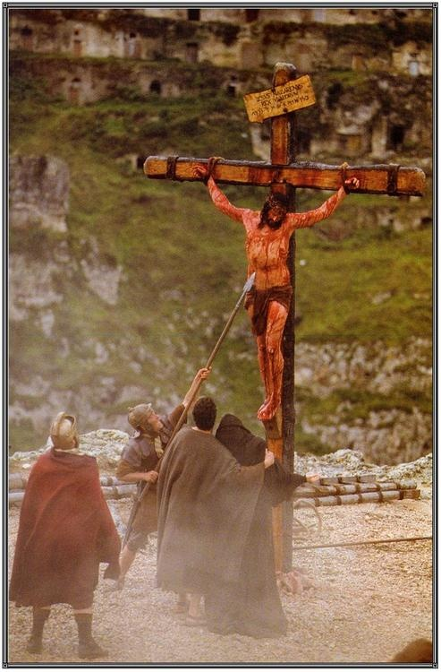 """Longinus the centurion spearing Jesus.  Longinus testified, """"In truth this man was the son of God."""""""
