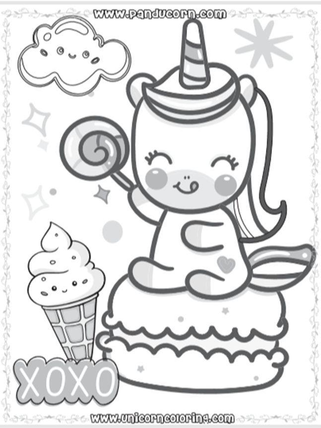 Cute Unicorn Ice Cream Coloring Pages