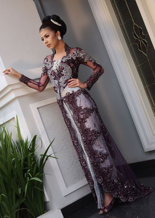 Elegant bridal kebaya from fashion designer Inar Suminarsih, founder of Prestige by Inar, Jakarta, Indonesia....