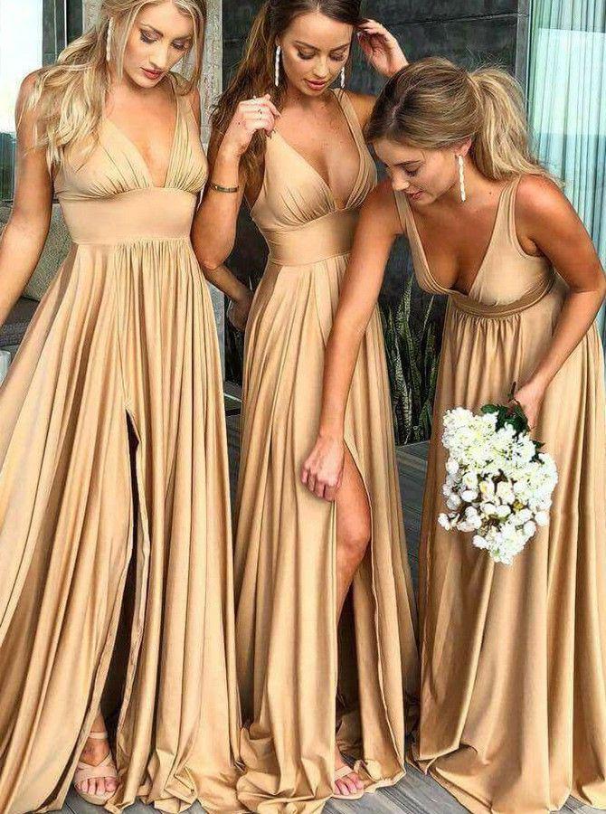 Champagner Hochzeit Brautjungfer Party Satin Robe Braut Maid Honor Damen Kleid