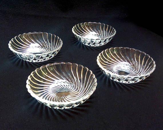 Fostoria Glass Colony Pattern Set of Four 5 Diameter