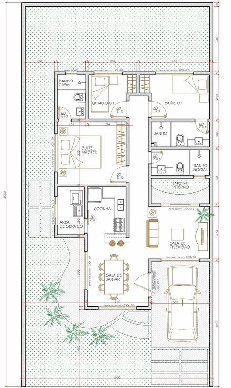 Projeto de casa térrea de 3 quartos com 83,02m²