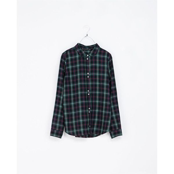 Zara Round Neck Checked Shirt ($30) ❤ liked on Polyvore featuring tops, shirts, zara, plaid, blouses, navy blue, navy shirt, blue plaid shirt, checkered shirt and plaid shirts