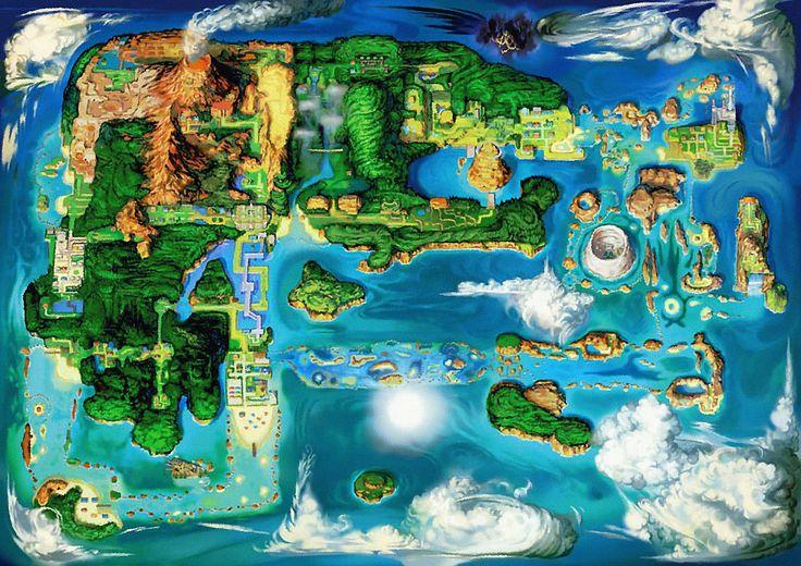 Map of the Hoenn Region, from Pokémon Alpha Sapphire and Omega Ruby