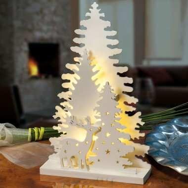Winterwald mit Hirsch, Waldszene aus Echtholz, Weihnachtsdekoration mit LED Beleuchtung, warmweißes Licht, 2 AA 1,5 V Batterien, Höhe 18 cm
