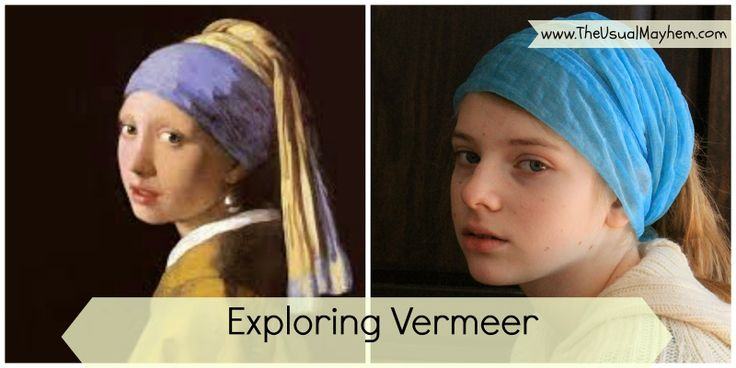 """Our exploration of Dutch artist Vermeer's """"Girl With the Pearl Earring"""" through photography. Come and see what a difference lighting and angle make! #Vermeer #artlesson #artiststudy"""