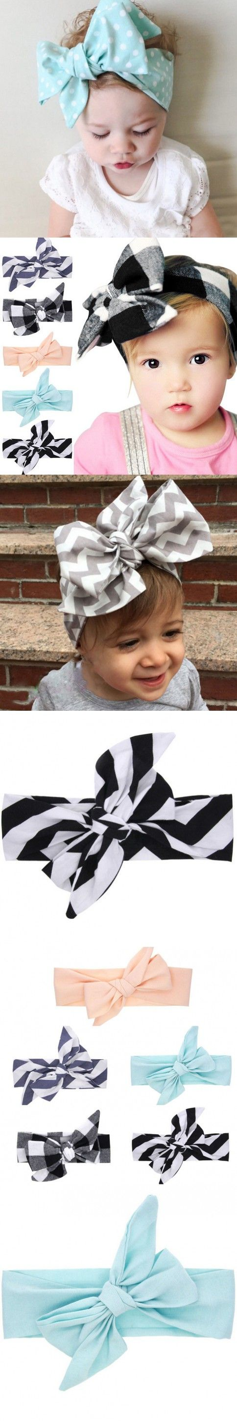 2016 Summer style big bowknot baby girl hair accessories Infant baby headband Children elastic hair bands Ribbons and bows 1PC