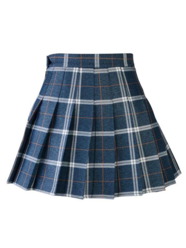 ca3d2923d21947 Women's Tartan Elastic Pleated Plaid Skirts Schoolgirls Mini A-line Skirt  Cosplay Costumes#Pleated