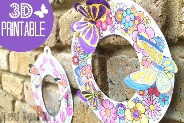 3D Tavaszi koszorú Coloring Pages - Darling Spring Koszorúk tavaszi, húsvéti és anyák napja.  Milyen szép ezek?  Nyomtatás, színes, nyissz, adjuk hozzá a lepkék, és van egy gyönyörű 3D-s tervezés!