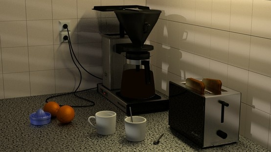 This is a render of my kitchen's coffee corner. 600 passes in Cycles, and the Venetian blind effect is made with a Venetian blind mesh.