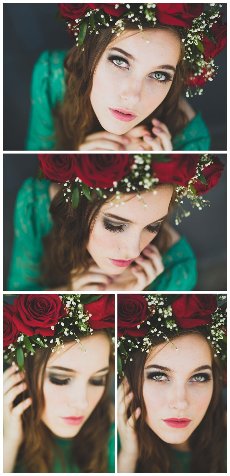 Flowers in hair, red roses, senior portrait photography, roses on head, young model, female senior