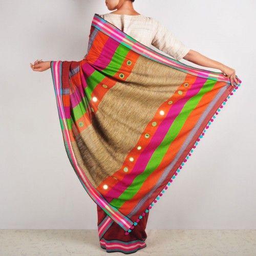 Rust cotton sari #craft #cotton #silk #mirrorwork