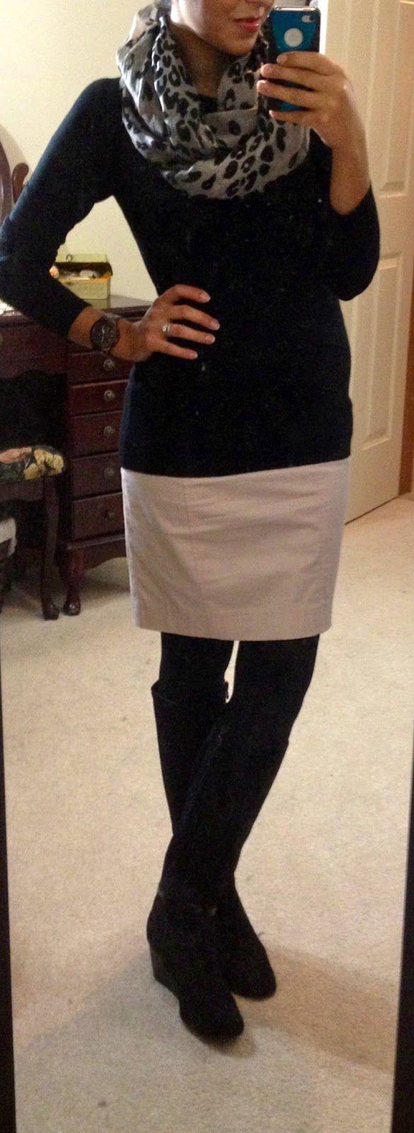leopard print scarf, black sweater worn over sheath dress, black boots find more women fashion ideas on www.misspool.com