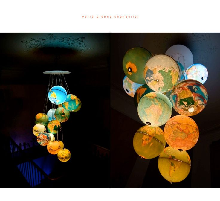 World Globes Chandelier ~ Recyclart