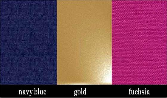 navy, gold, fushia