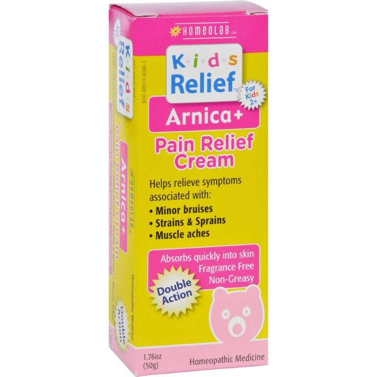 Homeolab USA Kids Relief Arnica Plus Pain Relief Cream - 1.76 oz - Helps relieve symptoms associated with:Minor bruisesStrains and sprainsMuscle achesIngredients: Arnica Montana 1X ([Leopards Bane] Pain, Bruises, Sprains, Muscle Aches) , Hypericum Perforatum 1X ([St Johns Wort] Bruises, Strains) Carbomer, Ceteareth 12, Cetearyl Alcohol, Cetyl Alcohol, Cetyl Palmitate, DMDM Hydantoin, Glycerin, Glyceryl Cocoate, Glyceryl Stearate, Iodopropynyl Butylcarbamate, Isopropyl Palmitate…