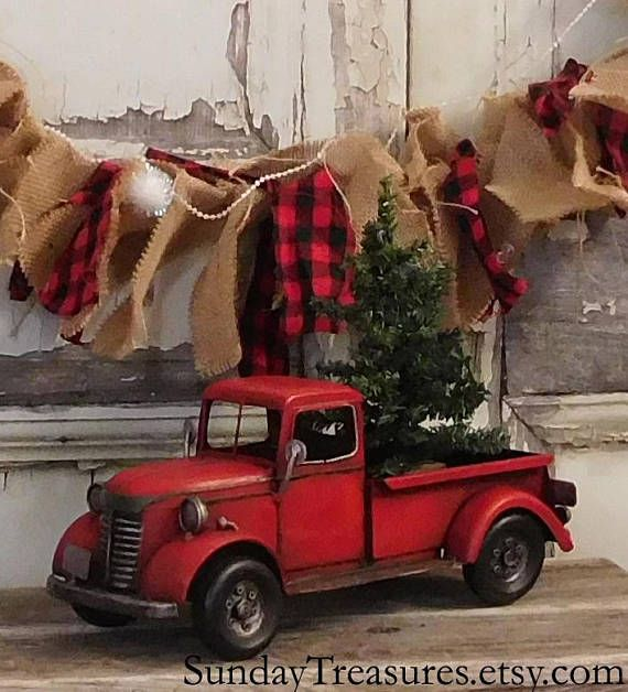 Old Red Truck With Christmas Tree In Back.Large Metal Old Fashioned Red Truck Christmas Decor