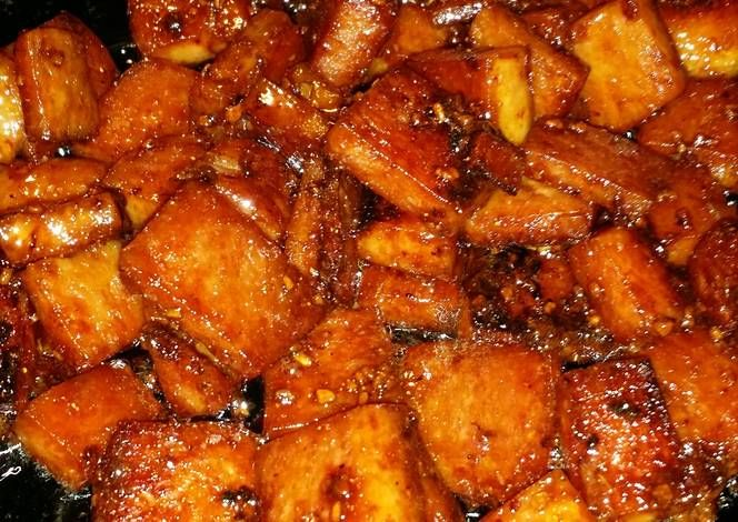 Sweet spicy and sticky spam. Recipe -  Yummy this dish is very delicous. Let's make Sweet spicy and sticky spam. in your home!